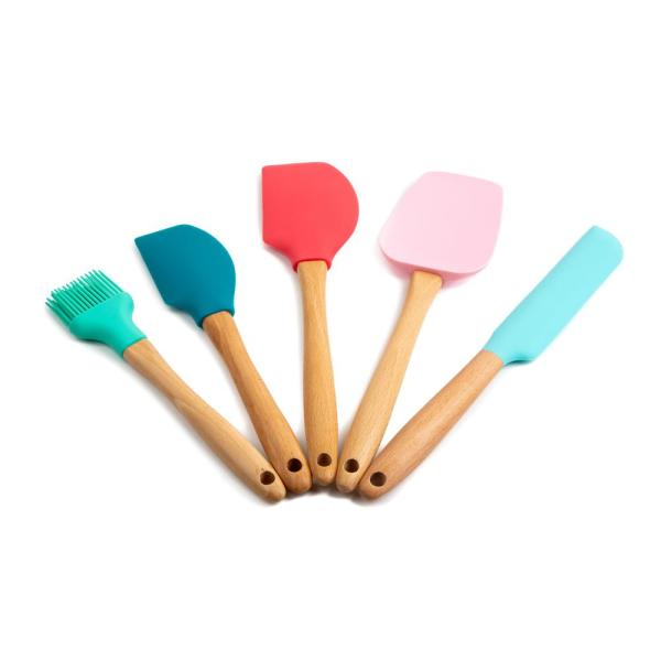 Core Kitchen Nostalgia Light Beechwood and Silicone Utensils (Set of 5)