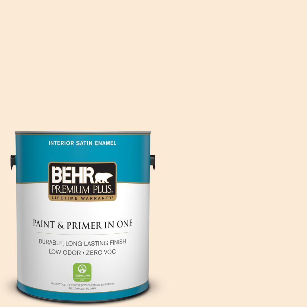 BEHR Premium Plus 1-gal. #P220-1 Frosty Melon Satin Enamel Interior Paint