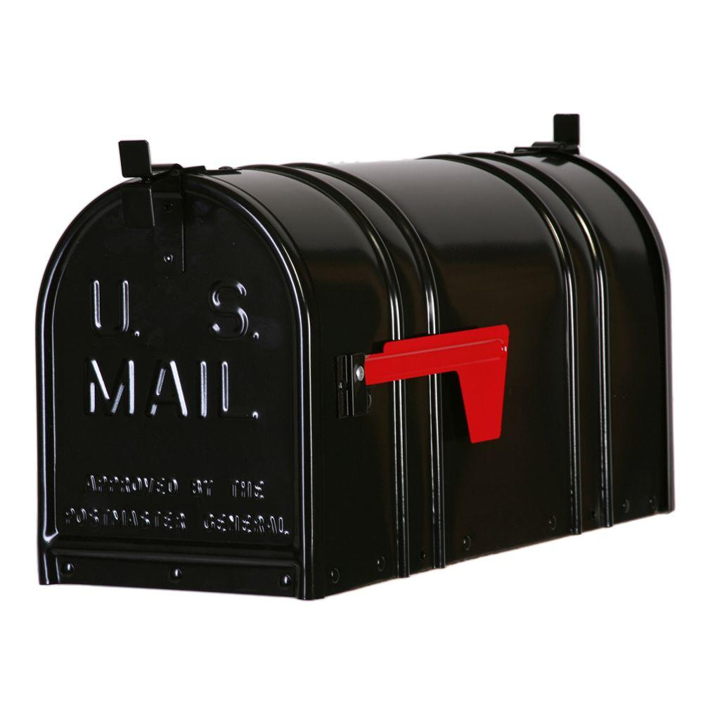 Beau Postal Pro Post Mount Double Door Steel Mailbox, Black