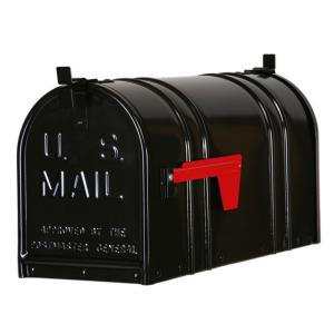 Postal Pro Post Mount Double Door Steel Mailbox Black