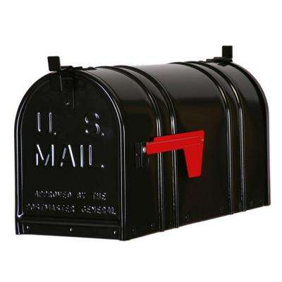 Post-Mount Double Door Steel Mailbox, Black