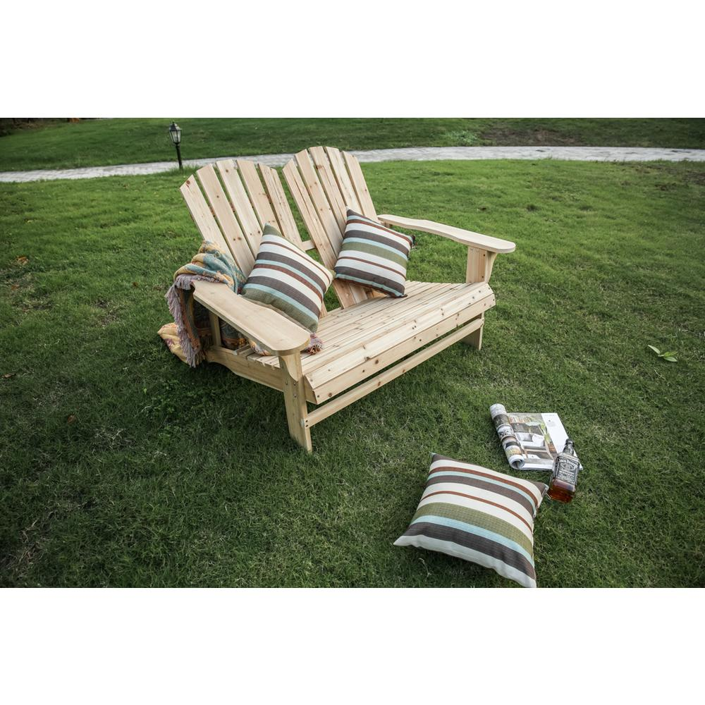 Natural Wood Double Adirondack Chair