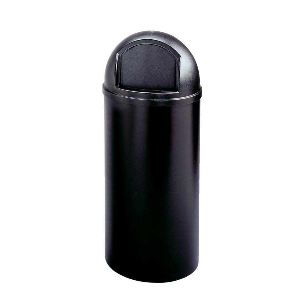 Marshal Classic 15 Gal. Black Round Top Trash Can