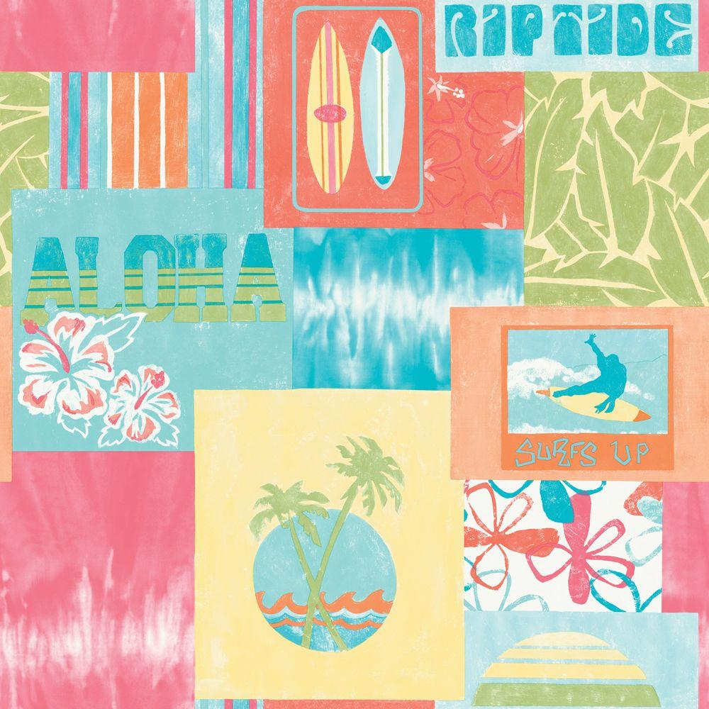 The Wallpaper Company 56 sq. ft. Brightly Colored Surf'S Up Wallpaper