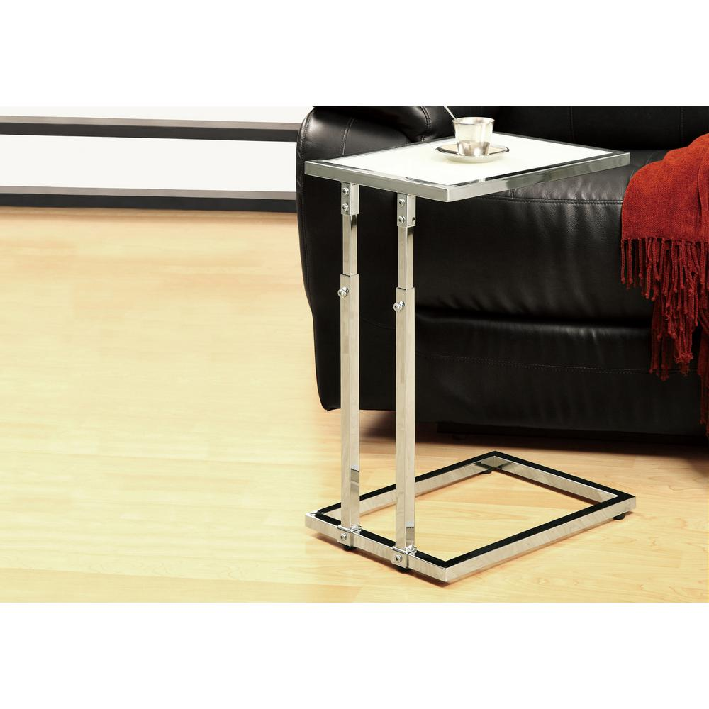 Monarch Specialties Chrome Glass Top End Table