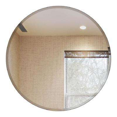 24 in. Round Beveled Polished Frameless  Decorative Wall Mirror with Hooks