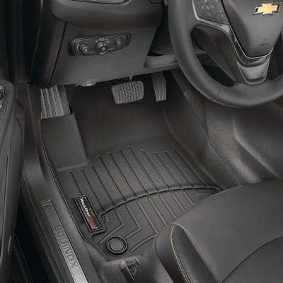 Black/Front FloorLiner Vinyl Floors/Chevrolet/Silverado 1500/2014 - 2018/Double Cab and Crew Cab; works with Floor Shift