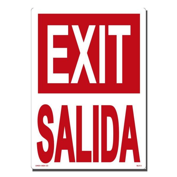 10 in. x 14 in. Exit/Salida Sign Printed on More Durable, Thicker, Longer Lasting Styrene Plastic