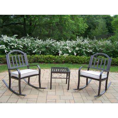 Rochester 3-Piece Patio Rocker Set with Oatmeal Cushions