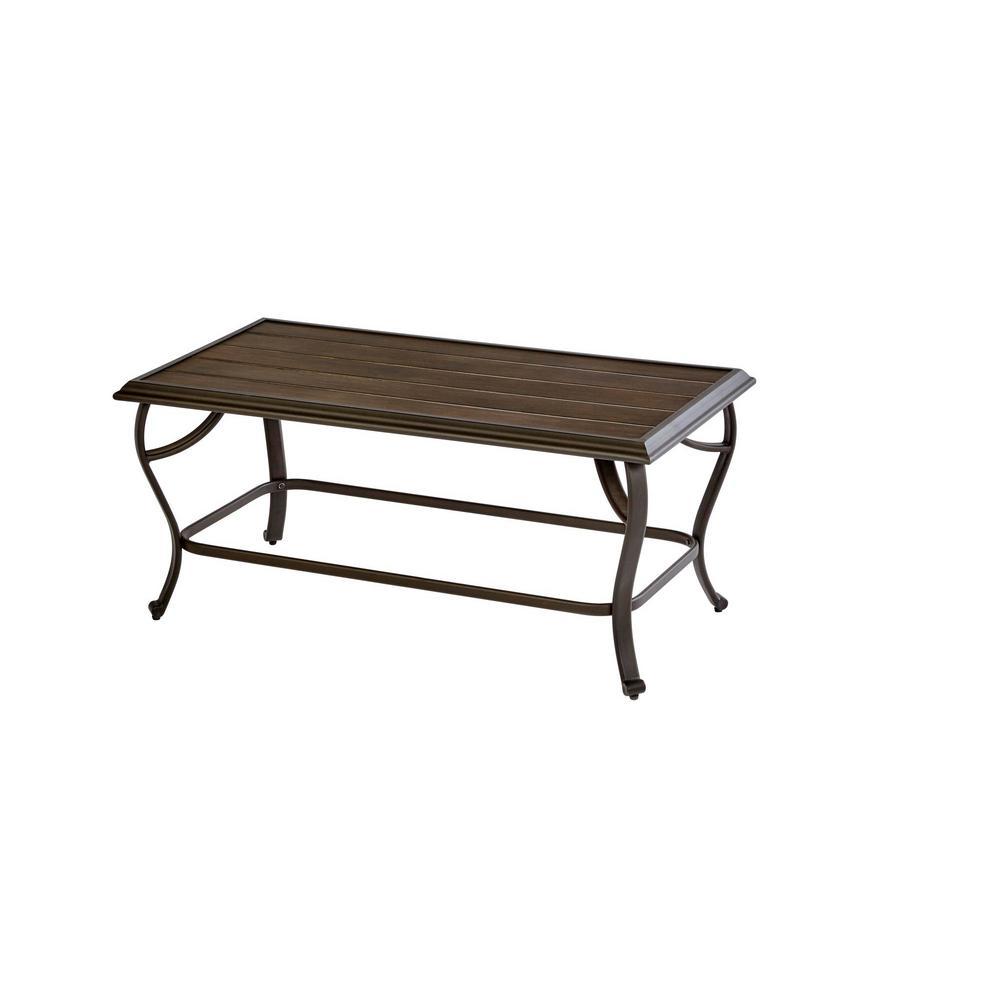 Becker Dark Mocha Steel Outdoor Patio Coffee Table