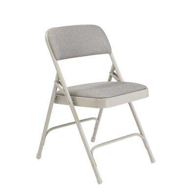 NPS 2200 Series Grey Fabric Upholstered Premium Folding Chairs (Pack of 4)