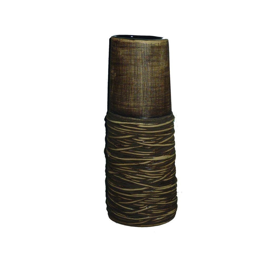16.3 in. H Ceramic Decorative Vase in Brown