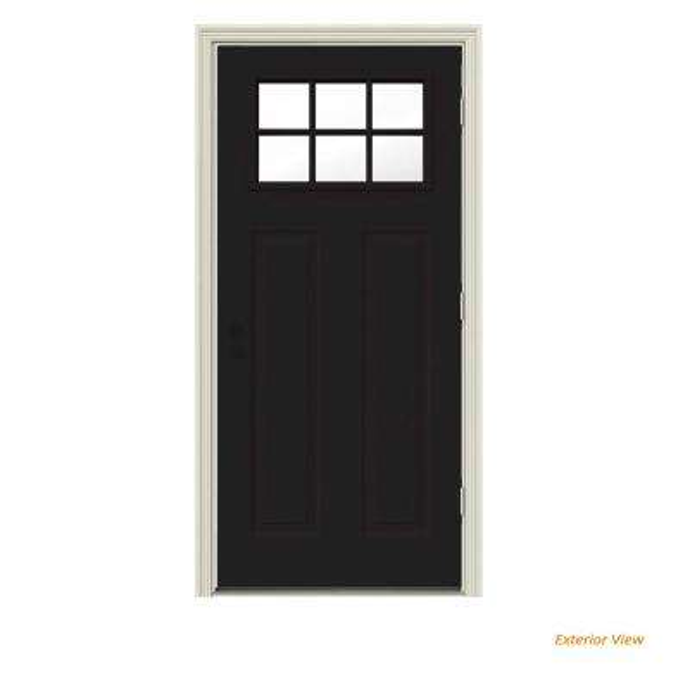 30 in. x 80 in. 6 Lite Craftsman Black Painted Steel Prehung Left-Hand Outswing Front Door w/Brickmould