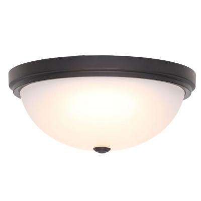 15 in. Oil Rubbed Bronze LED Flushmount with Frosted Glass