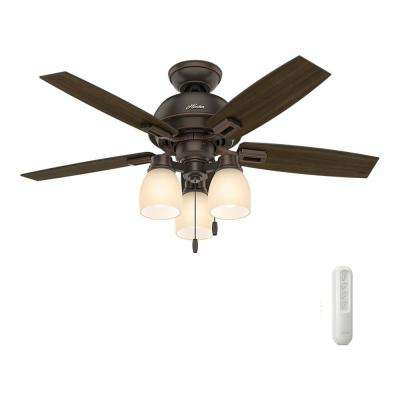 Donegan 44 in. LED 3-Light Indoor Onyx Bengal Bronze Ceiling Fan bundled with Universal Remote Control