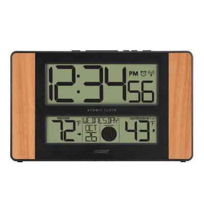 11 in. x 7 in. Atomic Digital Clock with Temperature & Moon Phase in Oak