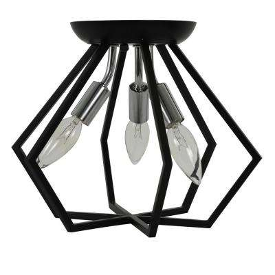 Septer 11 in. 3-Light Black and Chrome Geometric Flush Mount