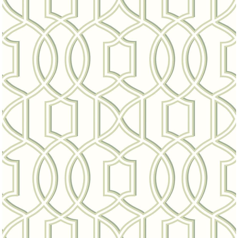 A-Street Quantum Green Trellis Wallpaper Sample 2625-21813SAM