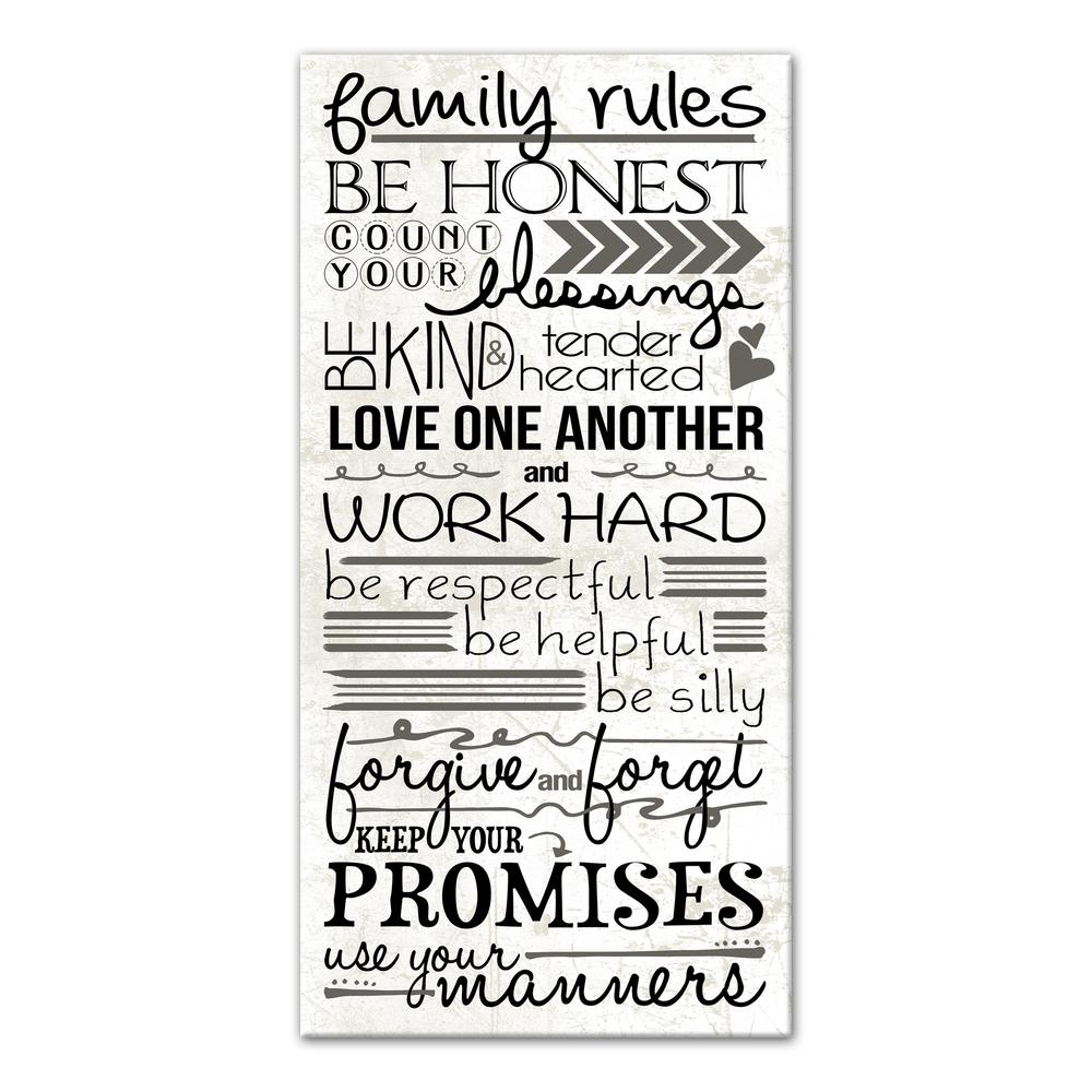 Designs Direct 20 In X 10 In Family Rules Printed Canvas Wall
