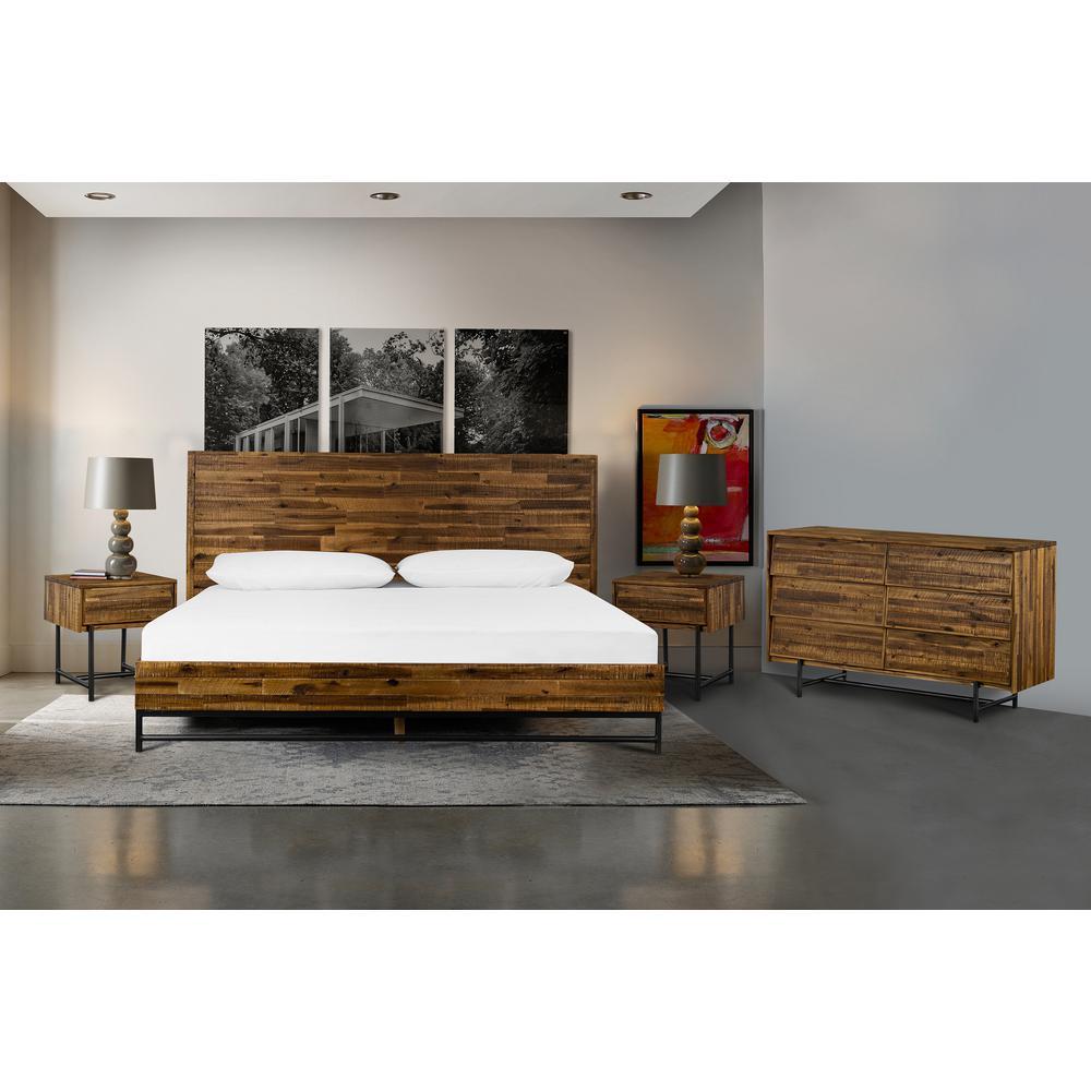 Armen Living Cusco 4-Piece Acacia Wood King Bedroom (Set)
