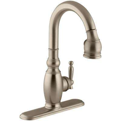 Vinnata 1 or 3-Hole Single Handle Pull-Down Sprayer Secondary Bar Faucet in Vibrant Brushed Bronze