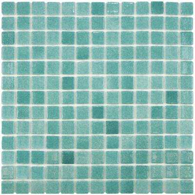 Ruidera Square Niebla Azul 13 in. x 13 in. x 5 mm Glass Mosaic Tile