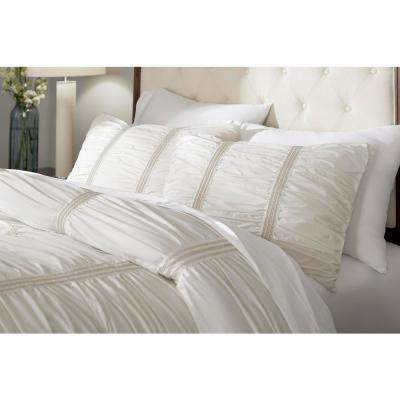 Romany Ivory Cotton Ruched Comforter Set