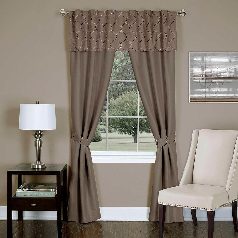 Achim Sheer Trellis Toffee Window Curtain Set