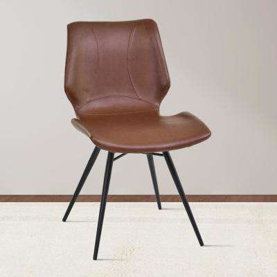 Zurich 32 in. Vintage Coffee Faux Leather and Black Metal Finish Dining Chair