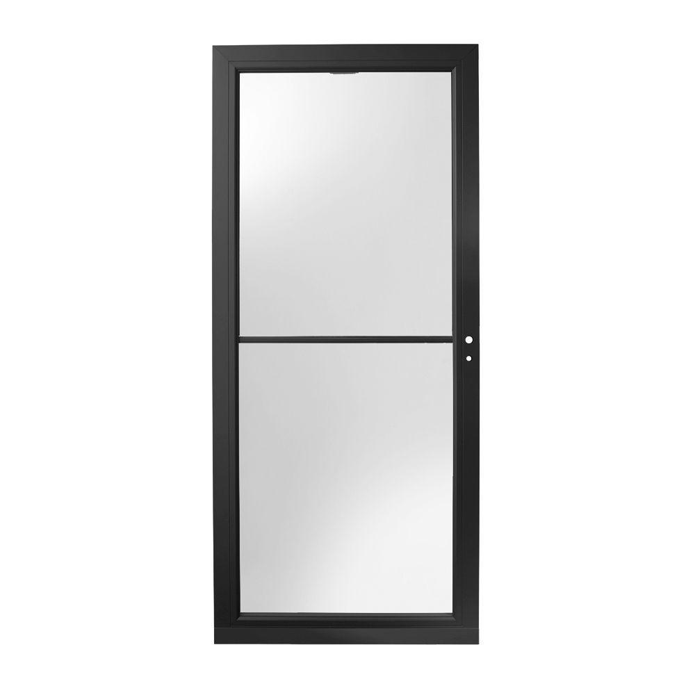 36 in. x 80 in. 3000 Series Black Right-Hand Self-Storing Easy Install Aluminum Storm Door