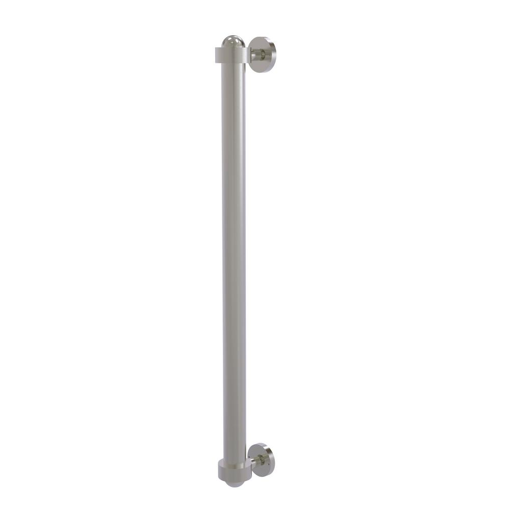 Allied Brass 18 in. Center-to-Center Refrigerator Pull in Satin Nickel Transform your kitchen with this elegant Refrigerator and Appliance Pull. This pull is designed for replacing the pulls or handles on your built-in refrigerator, freezer or any other built in appliance. Appliance pull is made of solid brass and provided with a lifetime finish to insure products will provide a lifetime of service.