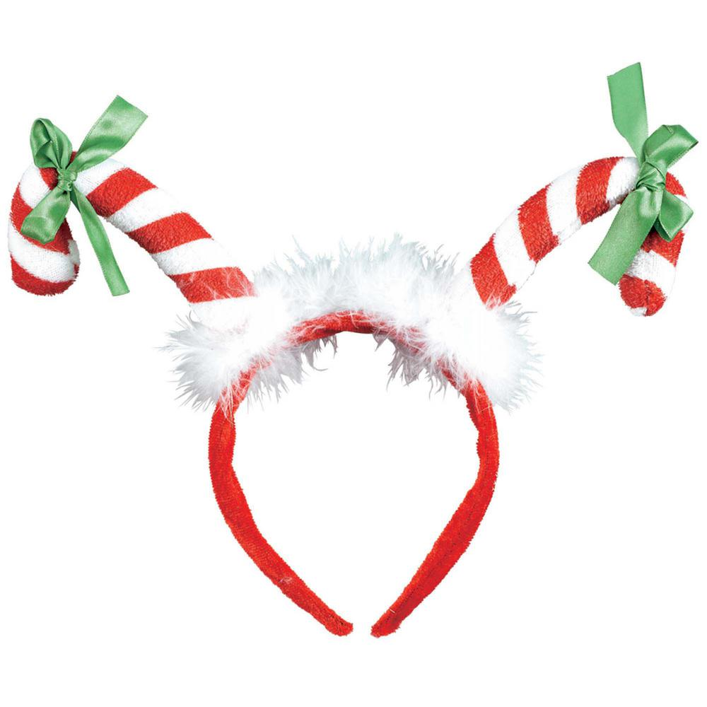 amscan 13 in x 10 in candy cane christmas headband 3 pack 318810