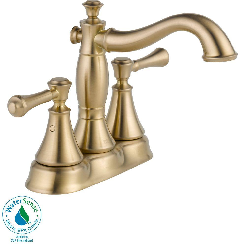 Delta Cassidy 4 In Centerset 2 Handle Bathroom Faucet With Metal Drain Assembly In Champagne