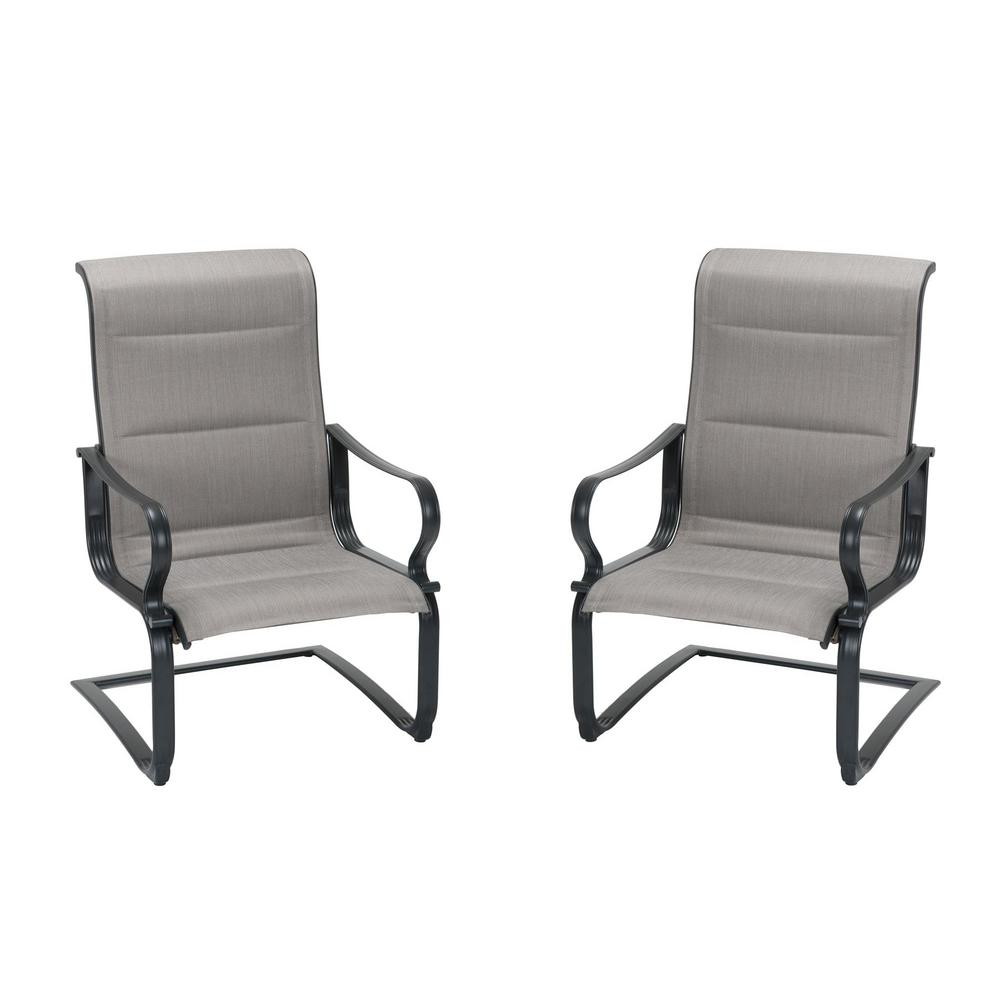 Lawn Chair 40 Oz: Cosco SmartConnect Steel Gray/Beige Padded Motion Patio