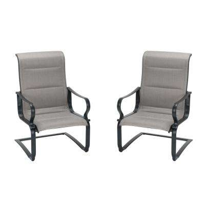 SmartConnect Steel Gray/Beige Padded Motion Patio Lounge Chairs (2-Set)