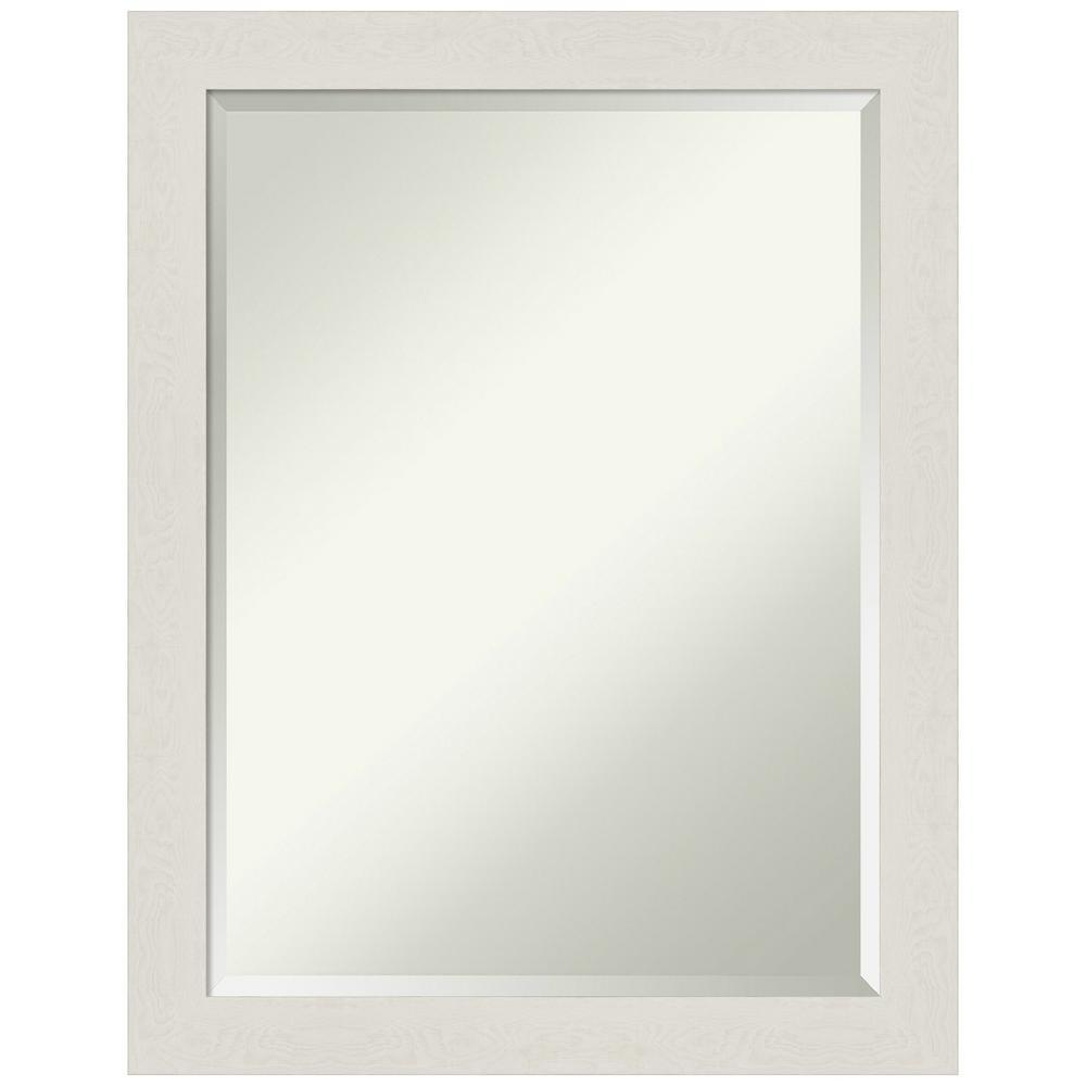 Amanti Art Medium Rectangle Distressed Creamwhite Beveled Glass Modern Mirror 27 38 In H X 21 38 In W Dsw4593091 The Home Depot