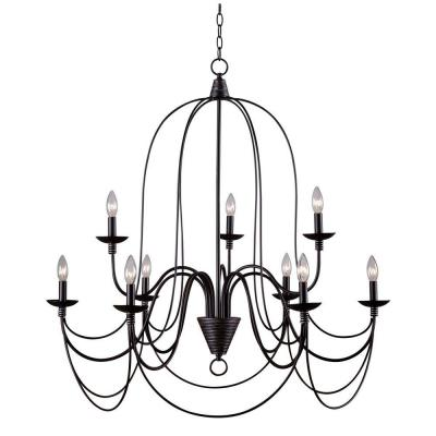 Pannier 9-Light Oil-Rubbed Bronze with Silver Highlights Chandelier