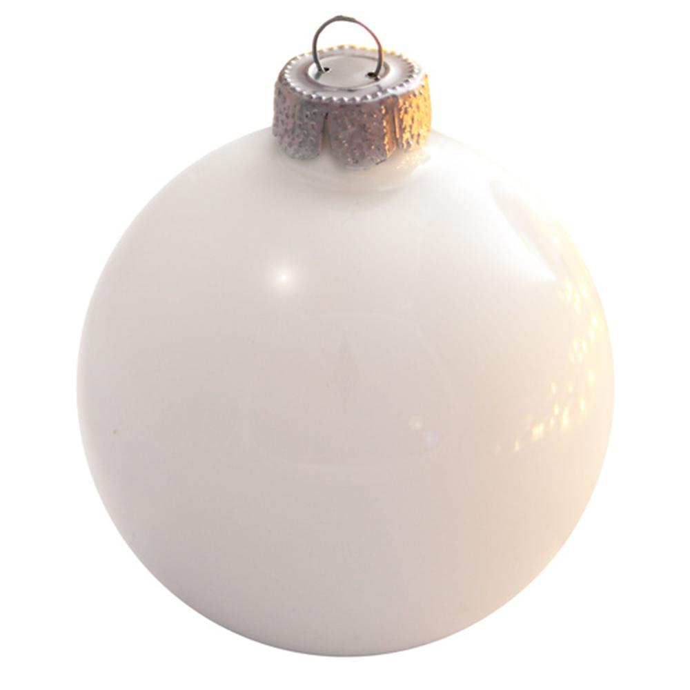 2.75 in. White Polar Pearl Glass Christmas Ornaments (12-Pack)