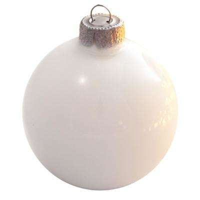 3.25 in. White Polar Pearl Glass Christmas Ornaments (8-Pack)