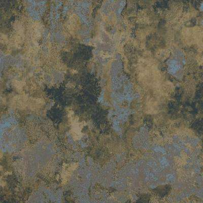 Concrete Cloudy Abstract Muddy Taupe and Metallic Blue Wallpaper