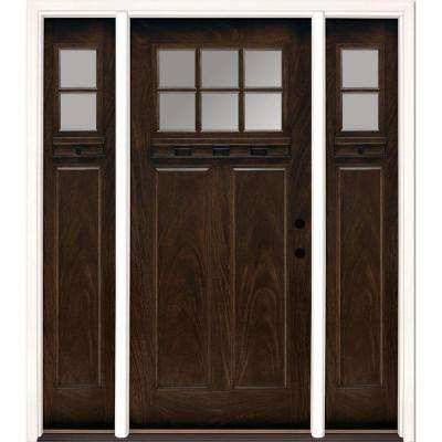 63.5 in.x81.625 in. 6 Lt Clear Craftsman Stained Chestnut Mahogany Left & Farmhouse - Front Doors - Exterior Doors - The Home Depot