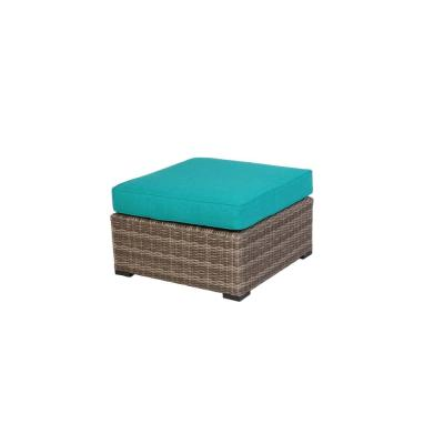 Muirwood Aluminum Outdoor Patio Ottoman with Sunbrella Blue Cushions