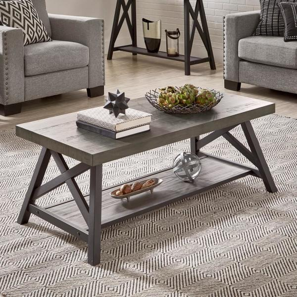 Grey Cocktail Table With Shelf