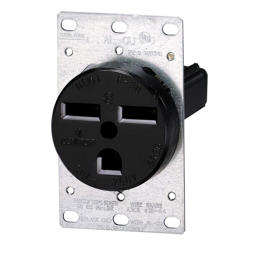 Leviton 30 Amp 2 Pole Flush Mount Shallow Single Outlet Black R10 Wiring An Without Ground
