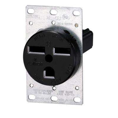 30 Amp 2-Pole Flush Mount Shallow Single Outlet, Black