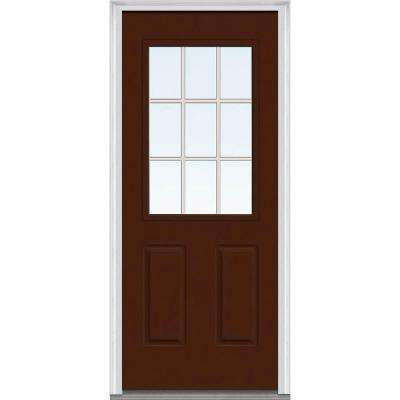 32 in. x 80 in. Grilles Between Glass Left-Hand Inswing 1/2-Lite Clear 2-Panel Painted Steel Prehung Front Door
