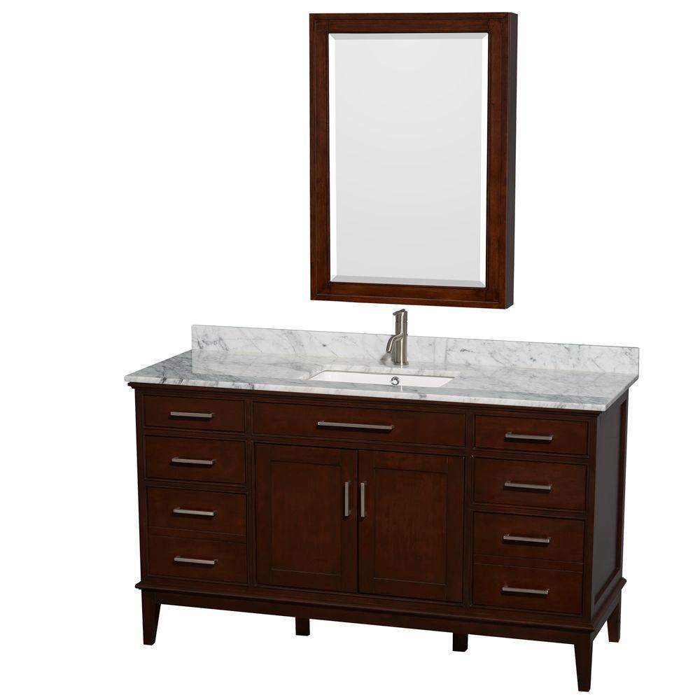 Wyndham Collection Hatton 60 in. Vanity in Dark Chestnut with Marble Vanity Top in Carrara White, Square Sink and Medicine Cabinet