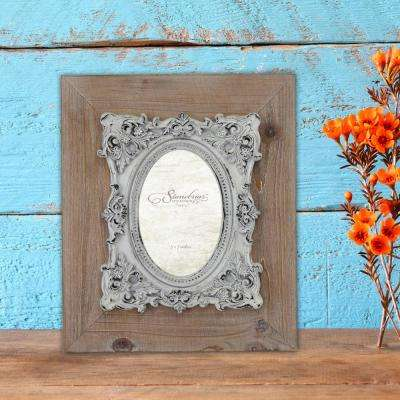 1-Opening 4 in. X 6 in. Natural Wood with Baroque Detail Picture Frame