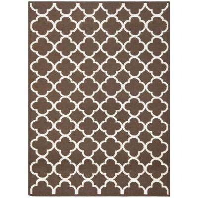 Dhurries Brown/Ivory 6 ft. x 9 ft. Area Rug