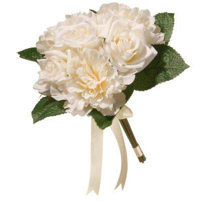 12.2 in. Mixed Cream Rose and Peony Bouquet